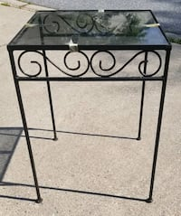 Antique Wrought Iron Square Side Table with Glass Top