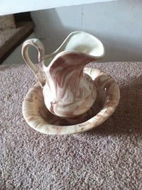 White and brown ceramic pitcher and bowl Girardville, 17935