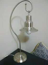 stainless steel base white shade table lamp 802 mi