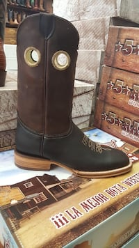 Pair of brown leather boots size 9 width D belt size 36 Mesquite, 75181