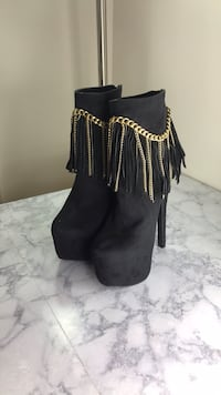 pair of black suede chunky heeled booties Rockville, 20850