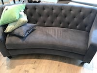 Tufted gray suede sectional sofa Langley, V2Z 1T8