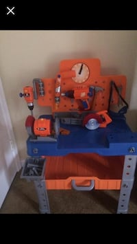 children's orange, blue, and gray plastic work table play set 43 km