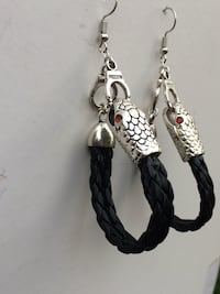Venom Braided Leather Snake and Handcuff Earrings Edmonton, T6H 2B5