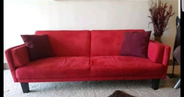 Red Suede 2 Seat Sofa
