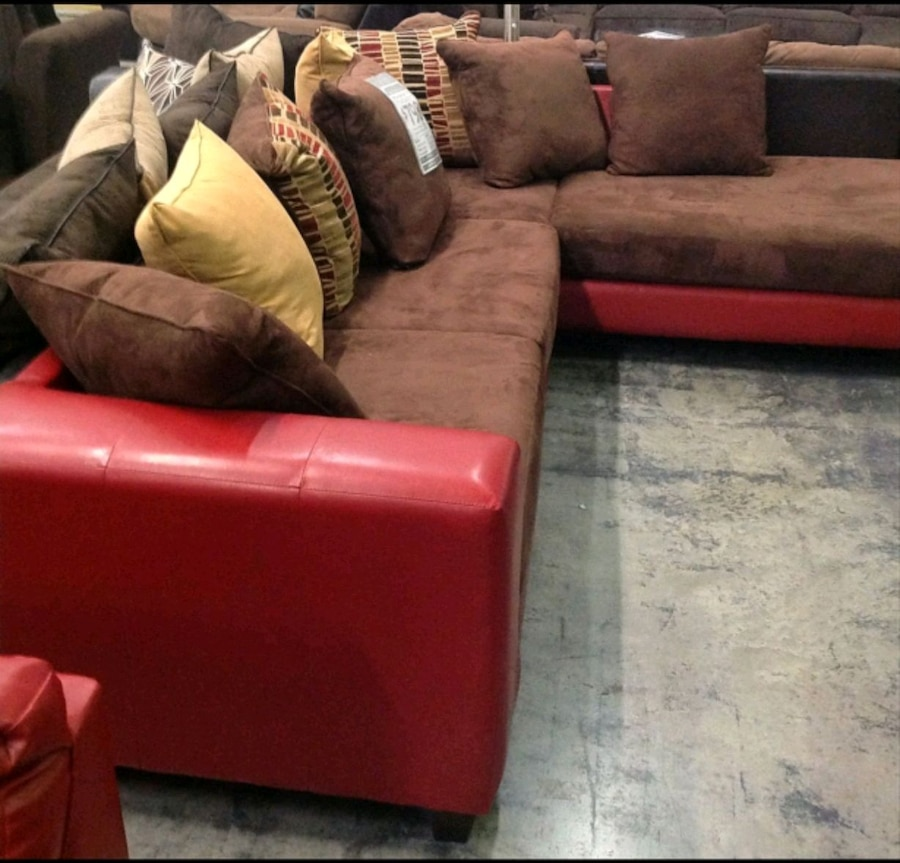 TWO TONED RED U0026 BROWN SECTIONAL SOFA W/ CHAISE