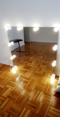 Hollywood style vanity mirror with dimmable light bulbs