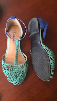 pair of green ankle strap sandals Calgary, T3B