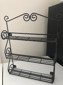 Small Black Metal Wall mounted Spice Rack