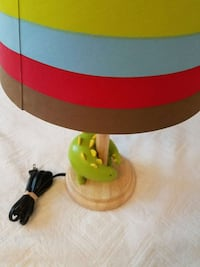 yellow, teal, red and brown stripe cone lamp shade with brown wooden base table lamp Washington, 20571