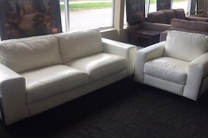 Italian White Leather Sofa & Chair Set