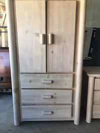 Gray wooden armoire. Selling the armoire, dresser, & mirror. Will give a deal if purchase 2 or all 3 together Highland, 92346