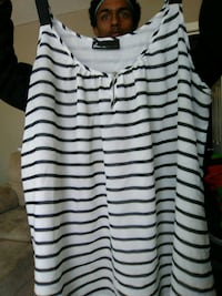 women's white and black striped sleeveless top