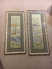 2 Antique Chinese Hand Made Framed Wall Arts