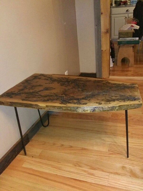 Black walnut end table or small coffee table with