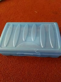 white and blue plastic container Republic