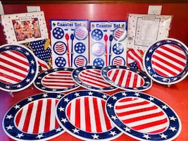 PATRIOTIC DINNER WARE with CLOTH TABLE CLOTH ALL NEW UNUSED SEALED