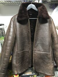 Sheepskin wool lined brown leather jacket winter coat Burnaby, V5G 3X4