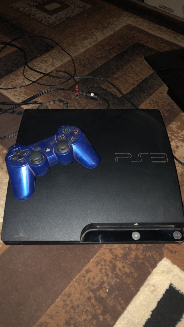 Black sony ps3 slim console, no controller!