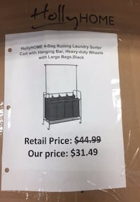 HollyHome 4- Bag Rolling  Laundry Sorter Cart with Hanging Bar, Black