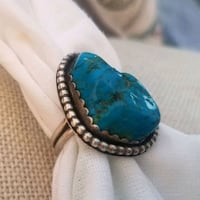 Genuine Turquoise Ring Sterling Sz 10 Fort Edward, 12828