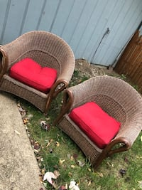 Wicker chairs with red cushions  Lisle, 60532