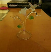 glass Lily flower and Hummingbird decor