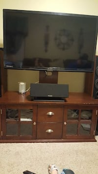 """50"""" black flat screen TV with stand"""