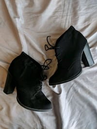 Black Lace-Up Ankle Booties  Mesa