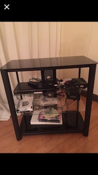 SUPER DEAL TV STAND WITH GLASS SHELVES  937 mi