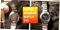 round silver-colored Fossil analog watch with silver-colored link bracelet