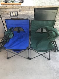 two blue and black camping chairs Upland, 91786