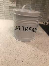 Cat Treat Enamel Tin