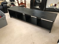 Tv stand, tv and mattress box spring