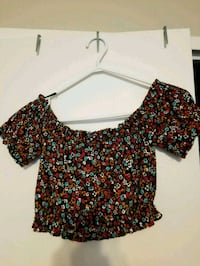 women's black and red floral blouse Toronto, M6P 1G2