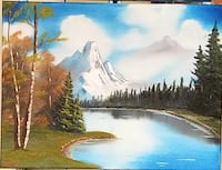 river with icecap mountain background painting