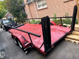 Red car trailer utility trailer