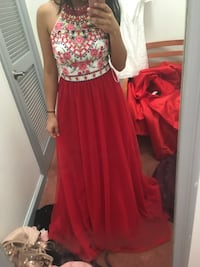 women's red and white floral sleeveless dress