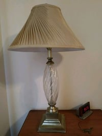 Crystal glass table lamp beige pleeted shade 39 mi