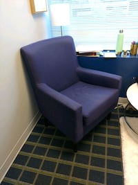 purple fabric padded sofa chair Sterling