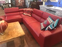 red leatherette sectional sofa