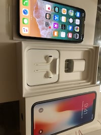 space gray iPhone X with box, USB Power Adapter, and EarPods with Lightning Connector Los Angeles, 90004
