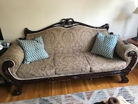 brown and gray floral loveseat Ridgefield Park, 07660
