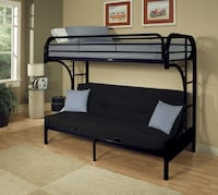 Eclipse TWIN Over FULL/FUTON Metal Bunk Bed Frame, Black Vernon