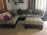 3-Piece Microfiber Leather Sectional Sofa Silver Spring