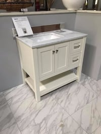 """36"""" Bathroom vanity solid wood cabinet with marble top and sink Fairfax"""