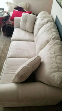 white fabric 3-seat sofa Centreville