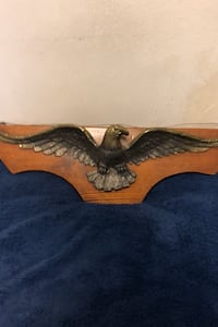 Vintage brass eagle on plaque to hang on wall