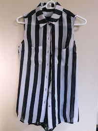 white and black button-up sleeveless blouse Barrie, L4M 2T5