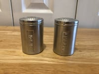 Vintage Salt and Pepper Shakers Made in Italy - Spun Aluminum - Mid Century Shaker Set - Punched Lid - Vintage Kitchen - Set of 2 Markham, L3T 3L4